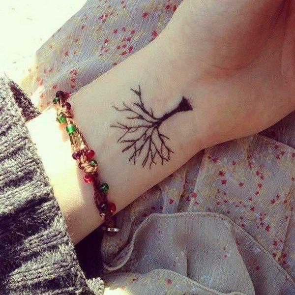 tatuaje de arbol invertido en la muñeca