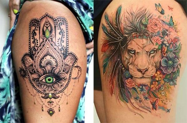 piernas tatuajes para mujeres