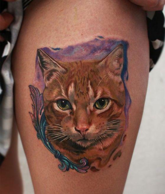 gato realista tatoo