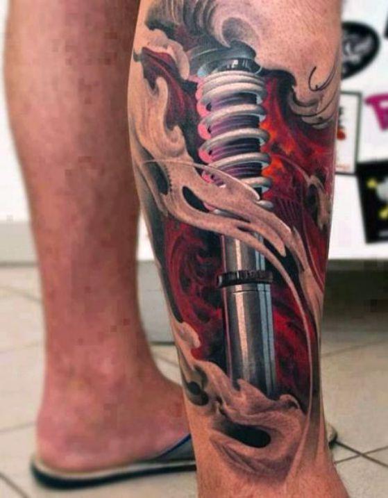 pierna tattoo mecanico