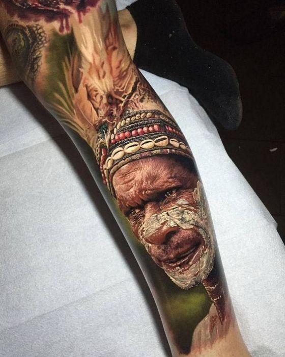 retrato realista en brazo