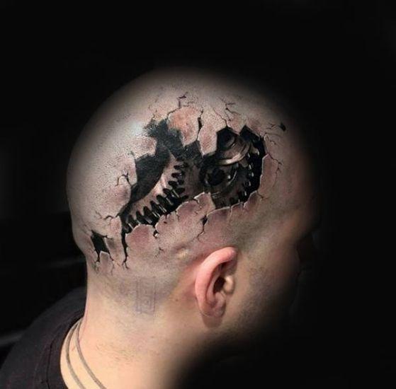 tatuaje en la cabeza biomecanico