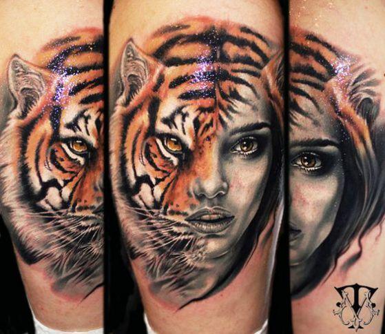tigre humano realista tatuaje