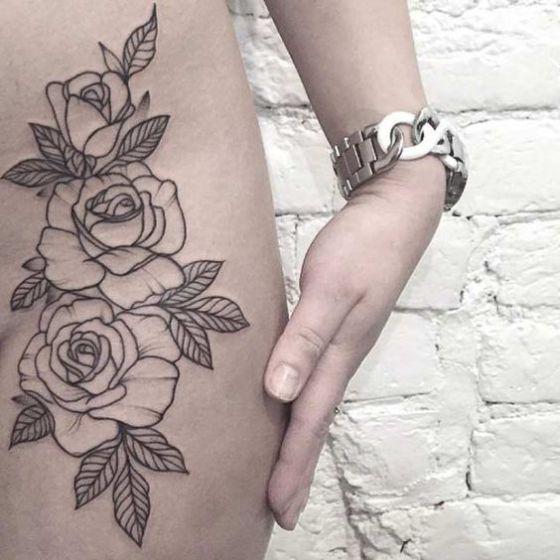 cadera tattoo rosas