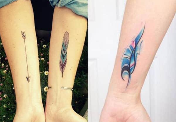 plumas en los brazos tatuajes2