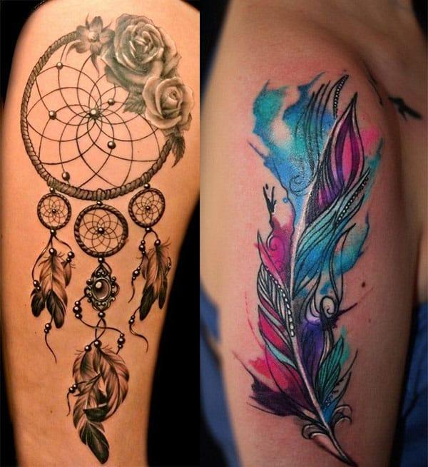 plumas y rosas en atrapasueños2