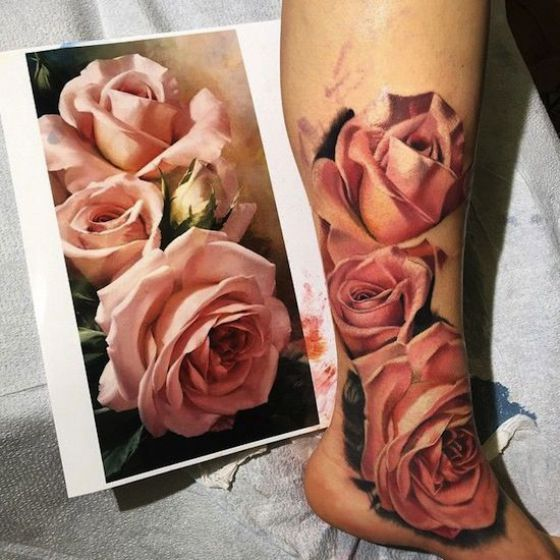 rosa en el pie tattoo