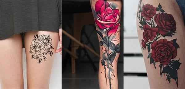 rosas en las piernas tatuaje2