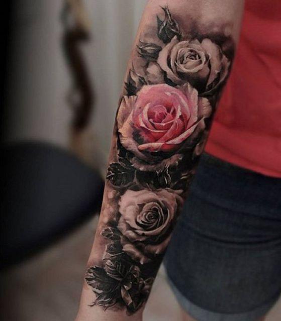 Tatuajes De Rosas Disenos Para Hombres Y Mujeres Con Sus Significados - Tatuajes-flores-brazo