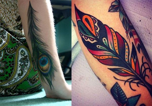 tatuaje de pluma pavo real en el brazo2