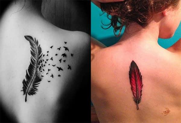tatuaje en la espalda de plumas2