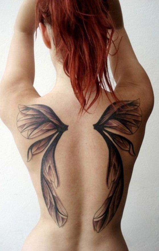 Tatuajes de alas diferentes estilos a color, en negro y sus significados
