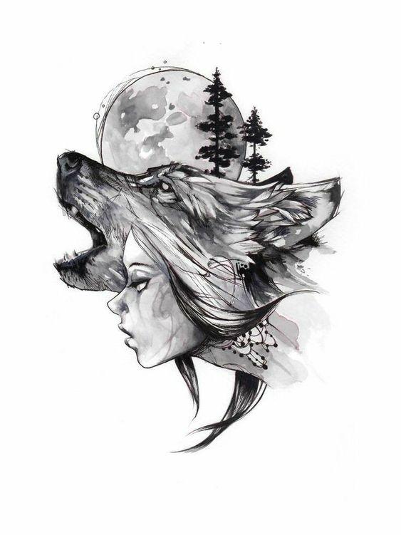 Tatuajes De Luna Y Lobo (5)