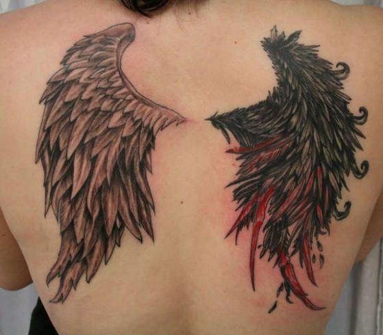 ideas para tatuajes de alas 7 - Tatuajes de alas diferentes estilos a color, en negro y sus significados