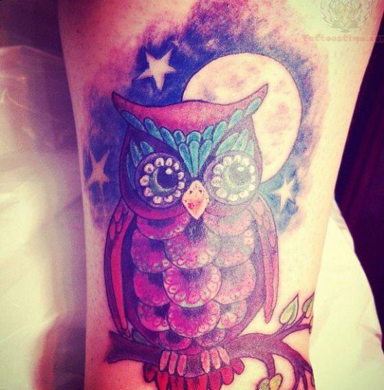 tatuaje de buho y luna