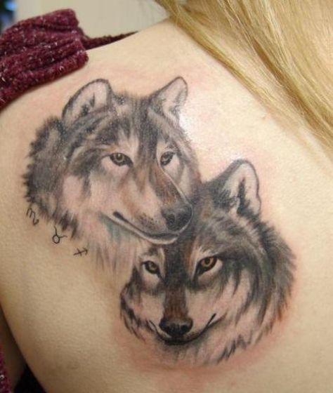 tatuaje de lobo para dos