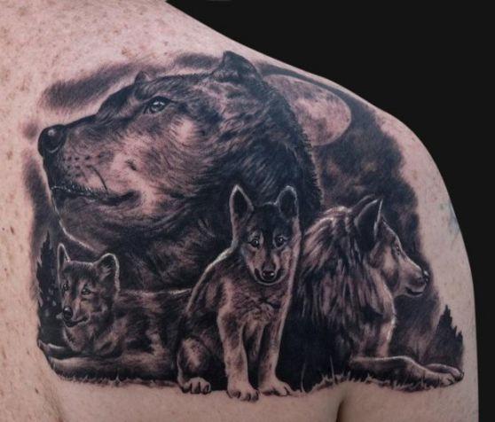 tatuaje de lobo manada