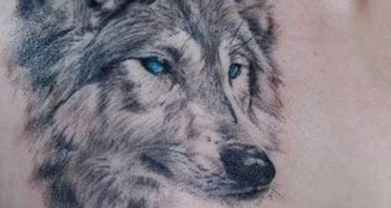 tatuaje de lobo ojo azul