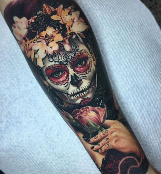 antebrazo tatauje calavera mexicana