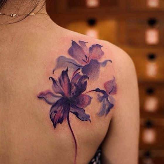 flores purpura para tatuajes