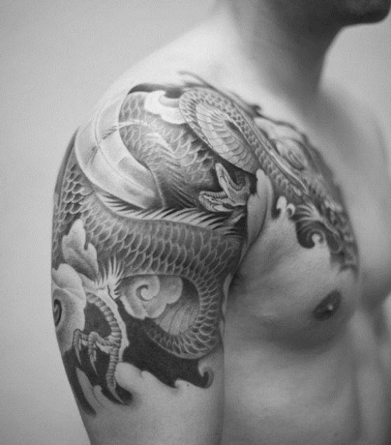 tatuaje en el hombro dragon - + 40 diseños de tatuajes de dragones con sus diferentes significados
