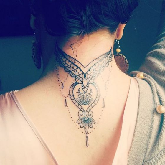 40 Beautiful Back Neck Tattoos For Women