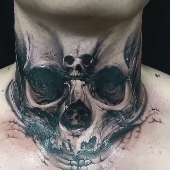 Tatuaje Calavera En El Cuello