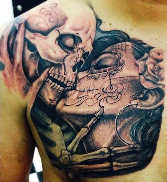 catrina y calavera tatuaje
