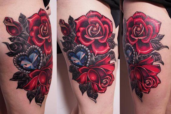 diamante y rosas tatuaje