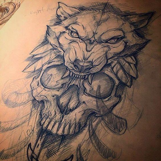 lobo y calavera diseño