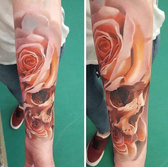 rosas combinandas craneo