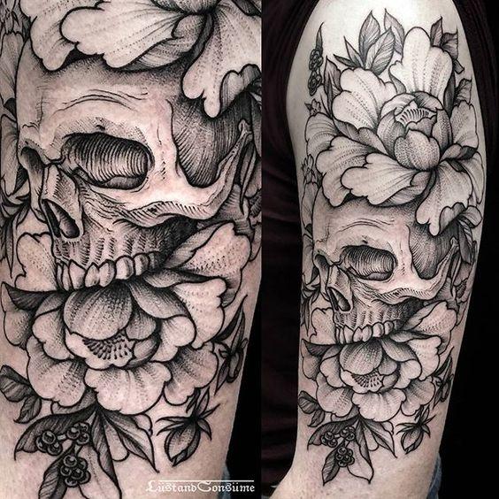 rosas con calavera tatuaje