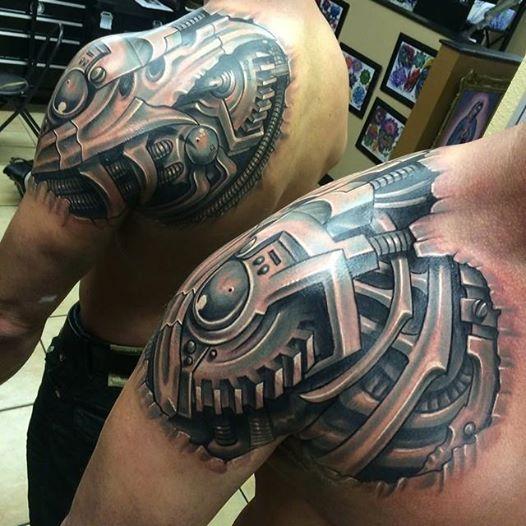 tatuaje hombro mecanico