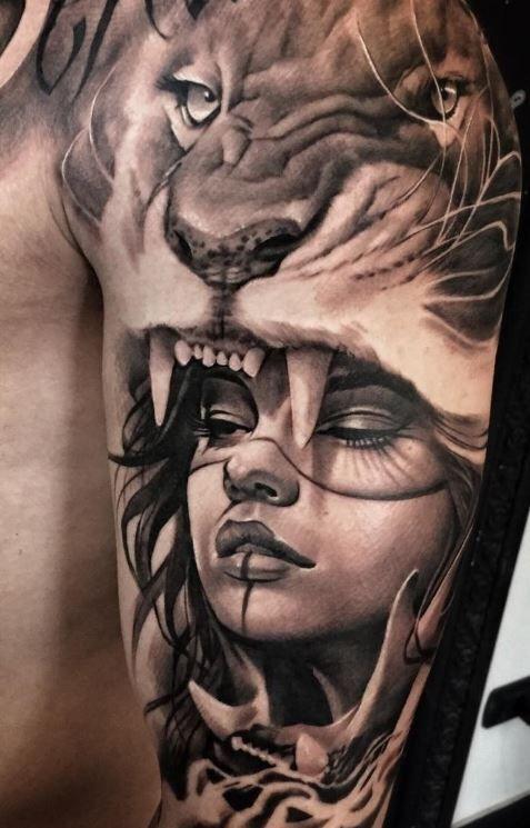 tatuaje leon y chica