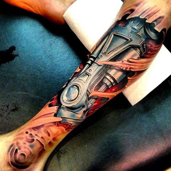 tatuaje pantorrilla a color