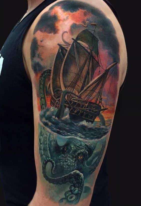 barco y pulpo tatuaje a color