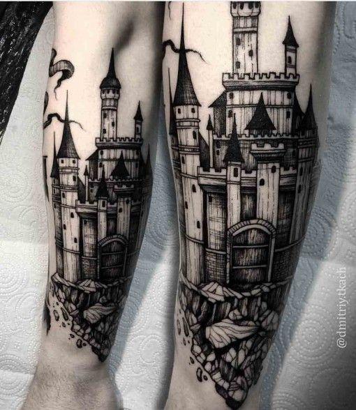 castillo estilo gotico tatuado