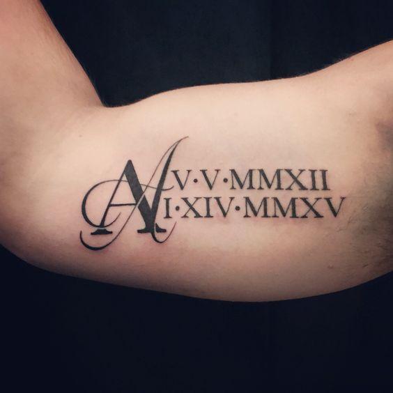 hombre tatoo numeros romanos