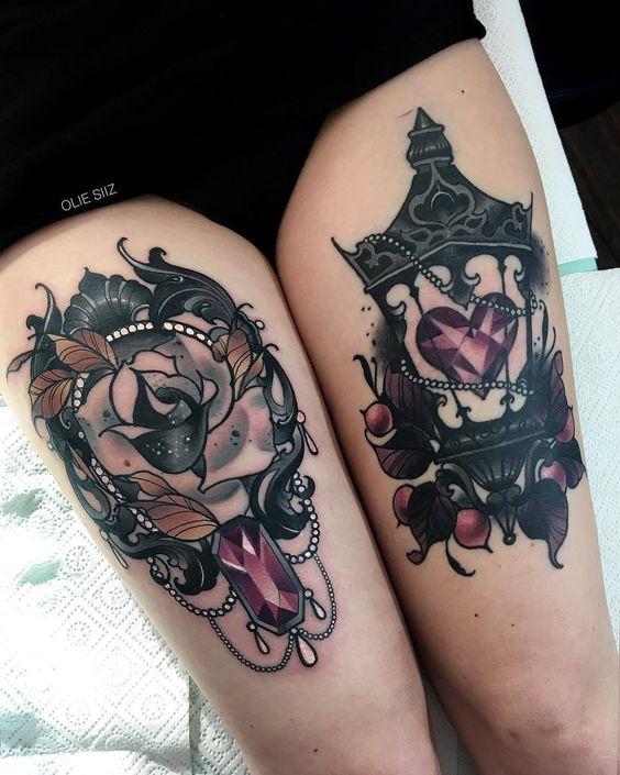rosa y corazon tatuaje
