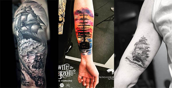 tatuaje a color barco en el brazo