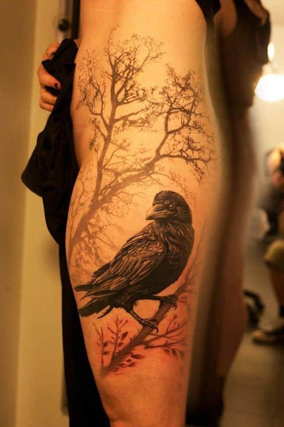 tatuaje de un cuervo
