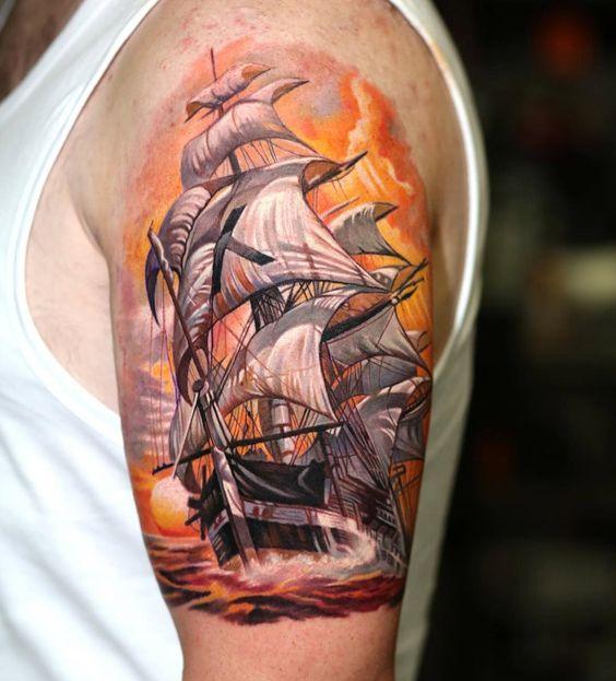 tatuajes de barcos a color