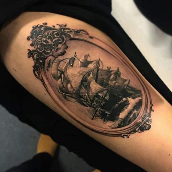 tatuajes de barcos para mujeres
