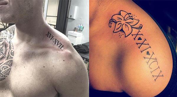 tatuajes de numeros romanos en el hombro