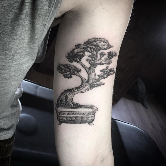 bonsai tatuado en el brazo