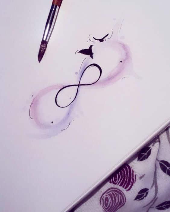 sencillo diseño infinito con color - +40 tatuajes de infinito con diferentes diseños y combinaciones
