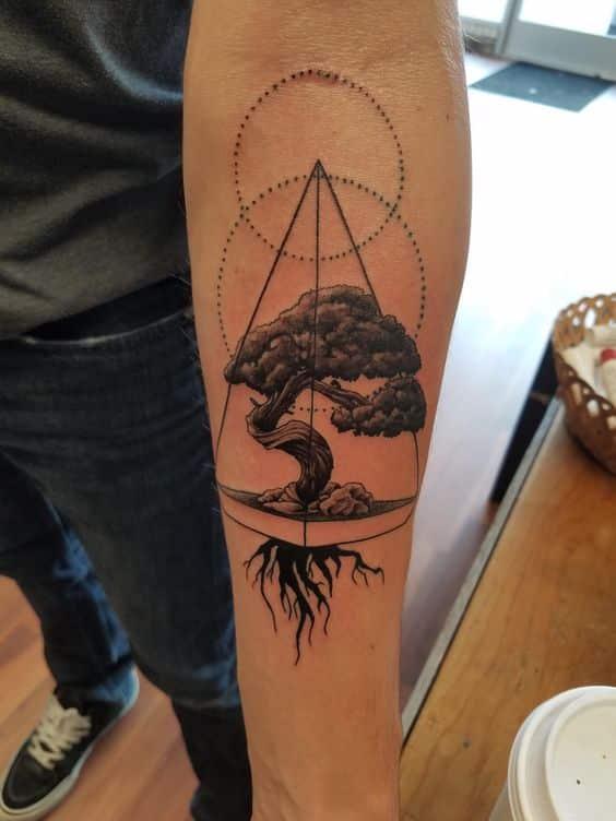 tatuaje de arbol bonsai