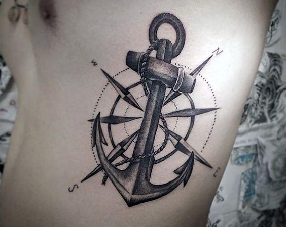 tatuajes de ancla para hombres pecho 4 - Tatuajes de anclas más de 40 diseños y los significados más populares