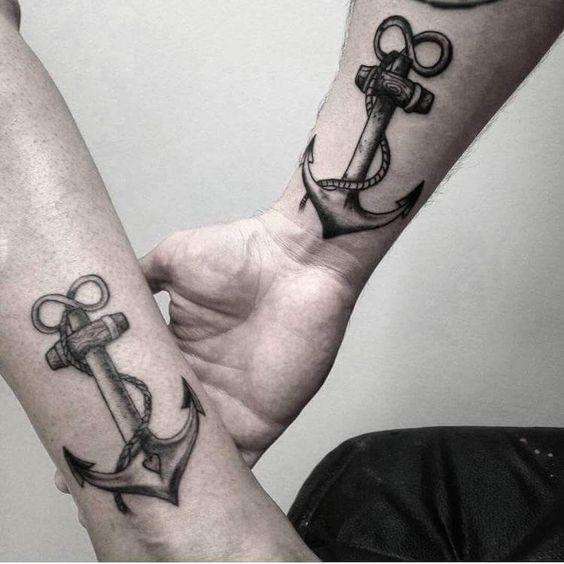 tatuajes de anclas para parejas 1 - Tatuajes de anclas más de 40 diseños y los significados más populares
