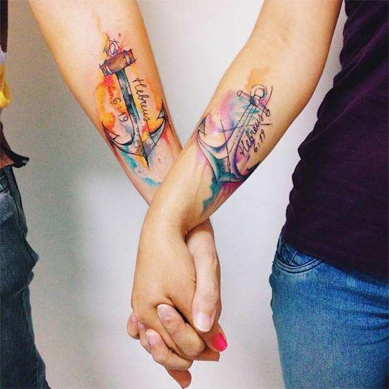 tatuajes de anclas para parejas 4 - Tatuajes de anclas más de 40 diseños y los significados más populares